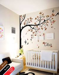 Tree Wall Decal With Personalized Name Or Quote Corner Decal With Flying Birds And Leaves Nursery Wall M Nursery Wall Murals Baby Room Decor Tree Wall Painting