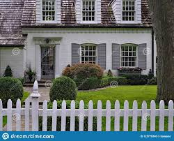 Front Yard With White Picket Fence Stock Photo Image Of Suburb Brick 125770346