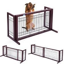 Jaxpety Indoor Adjustable Free Standing Dog Gate Wood Walmart Com Dog Gate Dog Fence Pet Fence