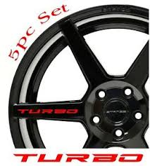 Turbo Decal Sticker Wheels Rims Racing Sport Car Sticker Emblem Logo 5pcs Red Ebay