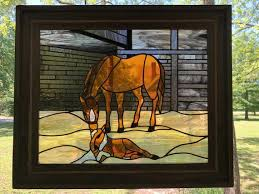 stained glass horse window panel horse