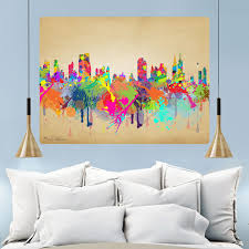 New York City Skyline Paint Splatter Wall Decal At Retro Planet