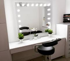 dressing room with hollywood mirrors