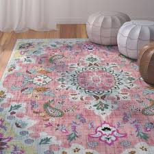 dante pink blue yellow area rug pink