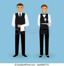 Staff., szolgáltatás, étterem, pincér, párosít, egyenruha, táplálék van,  edények, pincérnő, együtt. Együtt., illustration.,