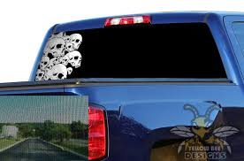 Chevy Silverado Rear Window Decals Perforated Graphics Half Skulls