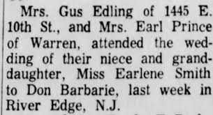 Mrs. Gus Edling and Mrs Earl Prince attend wedding of Earlene ...