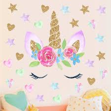 Unicorn Wall Stickers Rainbow Removable Kids Girls Bedroom Stars Decor Novelty For Sale Online Ebay