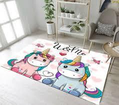 Floor Rug Mat Kids Bedroom Carpet Living Room Area Rugs Unicorn Couple Butterfly Ebay