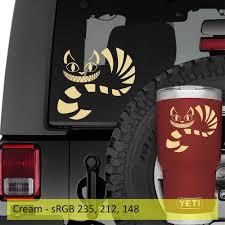 Cheshire Cat Vinyl Decal Jeep Wrangler Window Decal