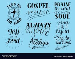 set of hand lettering christian quotes sing to vector image