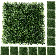 Houseables Artificial Boxwood Hedge Panels Backyard Grass Privacy Fence 20 X 20 12 Pack Green Plastic Outdoor Greenery Screen Faux Plant Wall Backdrop Garden Tile Decor Fake Hedges