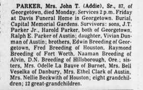 Addie Parker Obituary - Newspapers.com