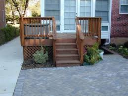 wood steps with pavers patio patio