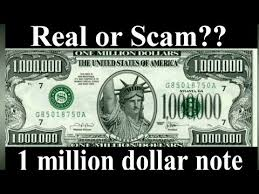 one million dollars banknote real or