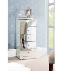 mirrored tallboy chest with 5 drawers