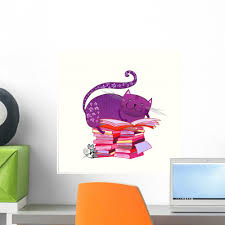 Harriet Bee Cat Reading Book Peel And Stick Graphic Wall Decal Wayfair