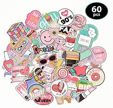 Amazon Com Novely Vinyl Sticker Decal Set Great For Water Bottles Phone Cases Skateboards Guitars And Much More Waterproof Easily Removeable 60 Piece Set Kitchen Dining