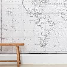 Gray Globe Map Surestrip Wall Mural