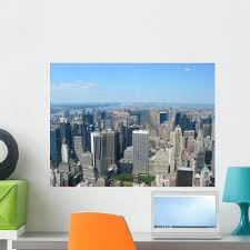 New York City Aerial Skyline Wall Decal Wallmonkeys Com