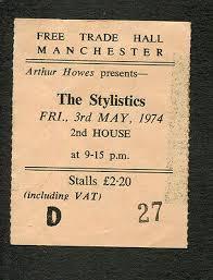 1974 the stylistics concert ticket stub