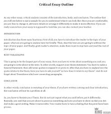 critical essay structure with exles
