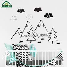 Nordic Mountain Scene Wall Stickers Woodland Clouds Vinyl Wall Decals Home Decor