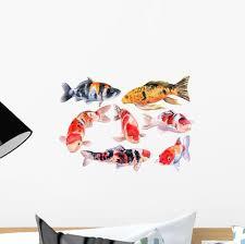 Colorful Carps Koi Fish Wall Decal Sticker Set Wallmonkeys Com