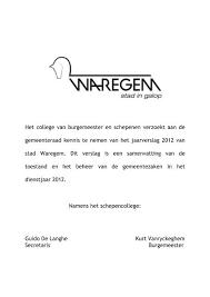 Jaarverslag 2012 Boek 1 Stad Waregem