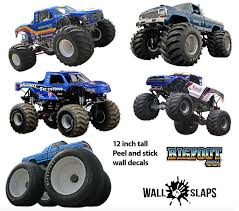 Set Of 5 Bigfoot 4x4 Monster Truck Wall Decals 12 Tall Trucks In 2020 Monster Trucks Wall Decals Stuffed Animal Holder
