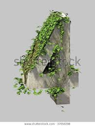 Ivy Stone Font Number Four Stock Illustration 37050298