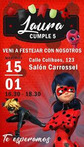 Carrossel Fiestas Personalizadas Invitacion Digital Miraculous