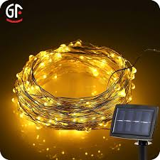 solar copper wire led string lights