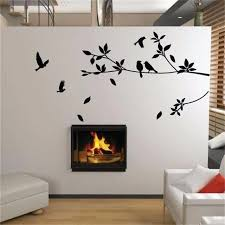 Family Of Birds On A Tree Branch Wall Mural Removable Pvc Wall Art Decal Nordicwallart Com