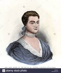 Abigail Adams at age 22. Hand-colored woodcut Stock Photo - Alamy