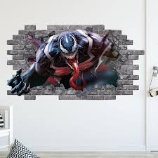 Wall Decal Venom Spiderman Smashed Wall Decor Marvel 3d Depth Etsy In 2020 Removable Wall Stickers Wall Decals Decal Wall Art