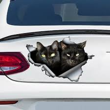Black Cats Car Decal Black Cat Sticker Cat Couple Decal Etsy