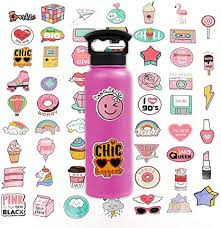 Amazon Com Stickers For Water Bottles Cute Pink Teen Girl Waterproof Durable Trendy Vinyl Laptop Decal Stickers Pack For Bicycle Skateboard Computer Travel Case Ravel Extra Durable 100 Vinyl 60 Pcs Computers