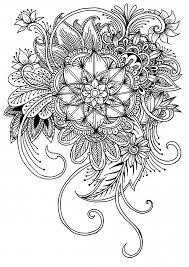 Kleurplaat Met Bloemen En Bladeren Premium Vector