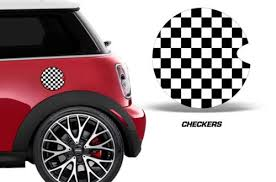 Mini Cooper Custom Gas Cap Decal Graphic Sticker Vinyl Accessories Checkers Mini Cars Mini Cooper Accessories Mini Cooper