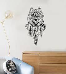 Vinyl Wall Decal Dream Catcher Wolf Head Forest Predator Stickers 408 Wallstickers4you