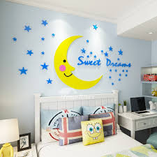 Cartoon Moon Star 3d Wall Stickers Kids Room Acrylic Stickers Bedside Background Cute