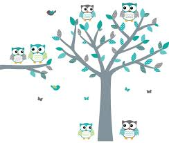 Amazon Com Owl Decals Teal And Gray Owl Wall Stickers Nursery Wall Art Vinyl Tree Decal Baby