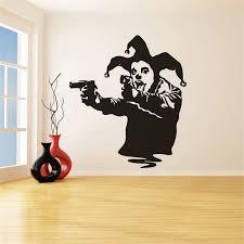 Banksy Street Art Graffiti Wall Sticker Banksy Style Clown With Guns Vinyl Wall Decal Joker Gun Removable Wall Murals Az345 Wall Stickers Aliexpress