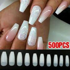finger acrylics natural white tip