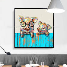 Arthyx Hand Painted Piggy Animal Oil Painting On Canvas Modern Abstract Pop Art For Kids Bedroom Decorative Artwrok Wall Picture Painting Calligraphy Aliexpress