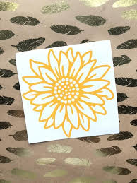 Sunflower Decal Free Shipping Yelow Sunflower Vinyl Decal Etsy