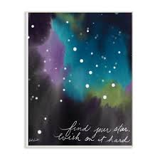 The Kids Room By Stupell 12 5 In X 18 5 In Find Your Star Blue Purple And Green Sky Watercolor Space By Katie Doucette Wood Wall Art Brp 2315 Wd 13x19 The Home Depot