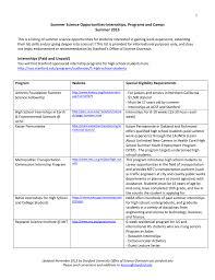 science opportunities internships