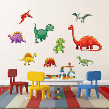 Amazon Com Decalmile Colorful Dinosaur Wall Stickers Kids Wall Decals Baby Nursery Childrens Bedroom Wall Decor Kitchen Dining
